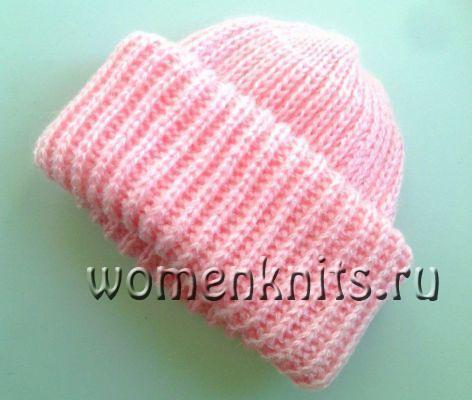 Очень простая вязка шапки спицами