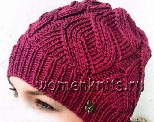 Очень красивый узор для вязания шапки спицами