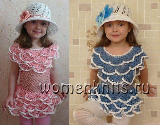 Платье крючком с рюшами и шляпка