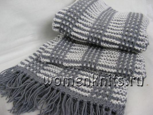 Мужской двухцветный шарф спицами