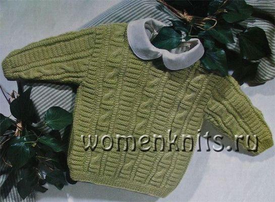 Светло-зеленый детский пуловер спицами