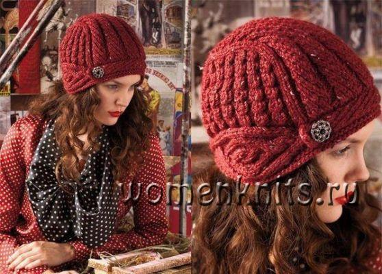 Стильная шапка спицами Vogue Knitting