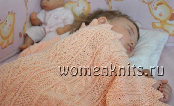 Плед спицами для малышки от handmadebymarmala