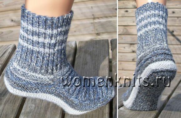 Меланжевые носки спицами