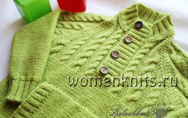 Пуловер спицами для сына