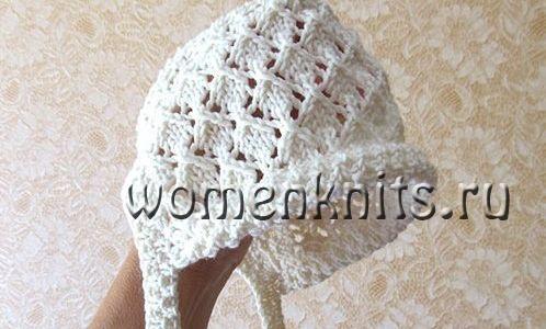 Нарядная летняя шапочка для новорожденного спицами