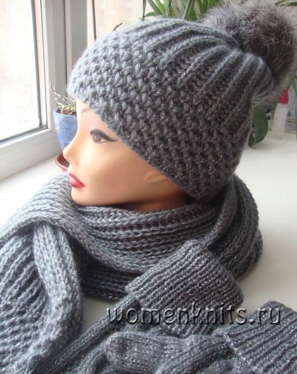 красивый комплект спицами шапочка и шарф описание узоров и видео